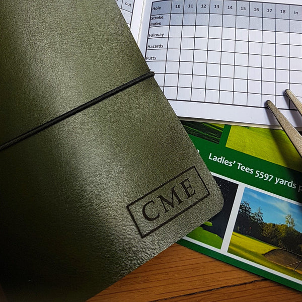 Personalised Leather Golf Journal gift,  Refillable Golf Score Tracker