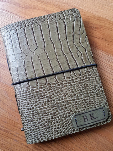 Snakeskin finish leather shooting journal