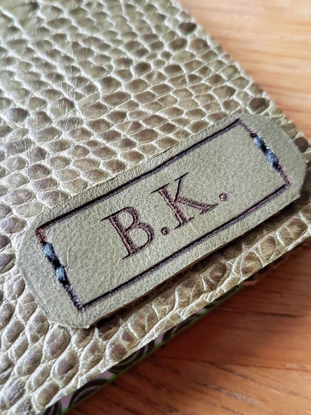 Snakeskin finish leather shooting journal with personalised initials