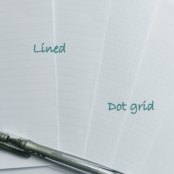 Samples of dot grid and lined options for B6 Midori travelers notebook insert