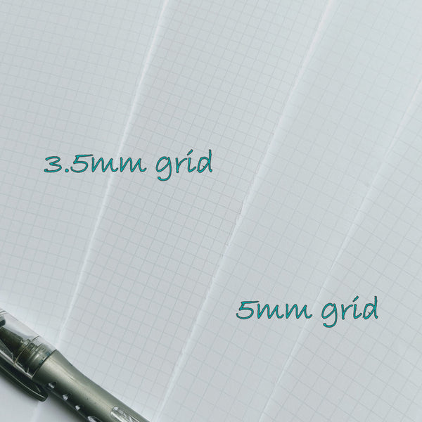 Examples of math grid graph paper pages in midori tn inserts