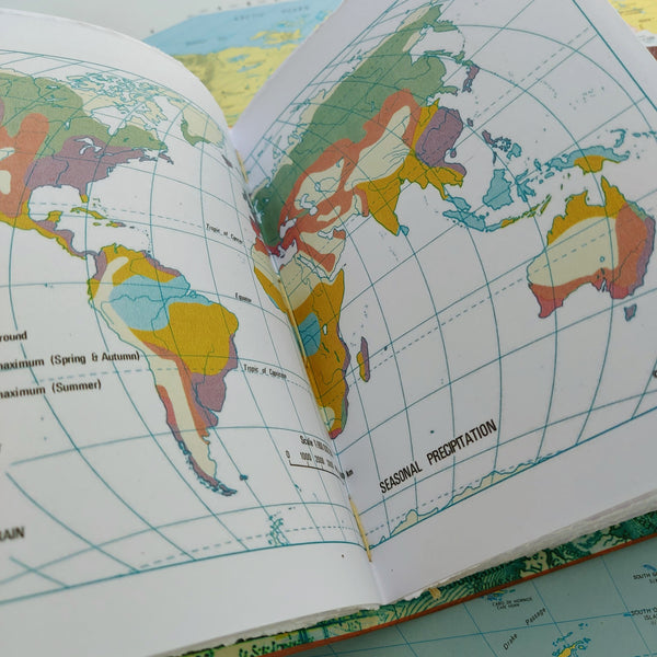 Seasonal World Rainfall information page from Atlas inside leather travel notebook