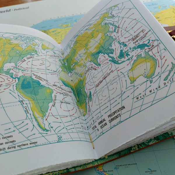 rainfall and ocean currents world atlas information page inside leather travel journal