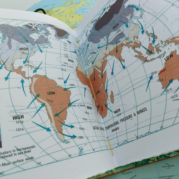 Pressure and winds across the world.  Atlas information in travel journal