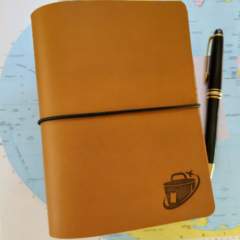 A6 bucket list leather journal with bucket list travel logo laser engraved