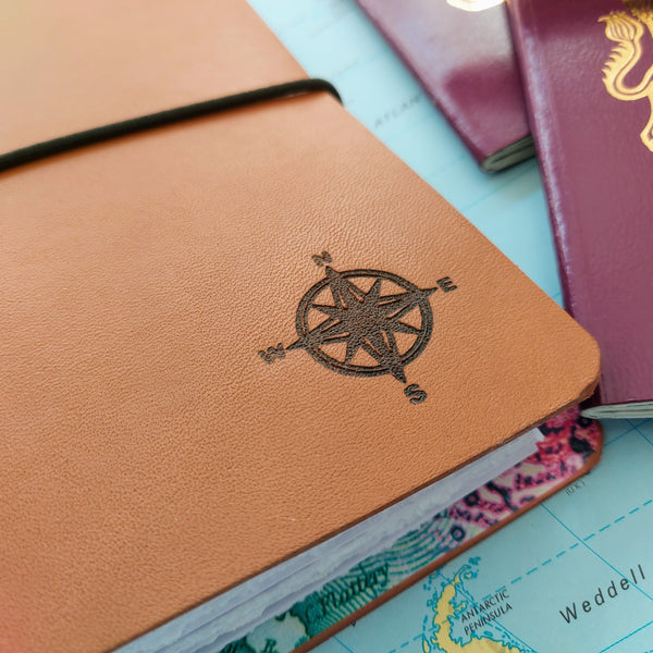 Bespoke Bindery Compass Engraved Travel Journal for your world journey