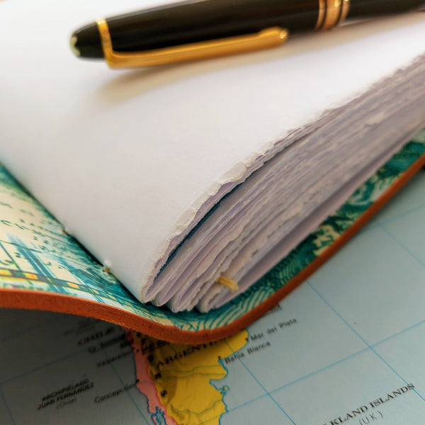 Hand stitched paper in leather travel journal  - heavy quality paper for all art mediums