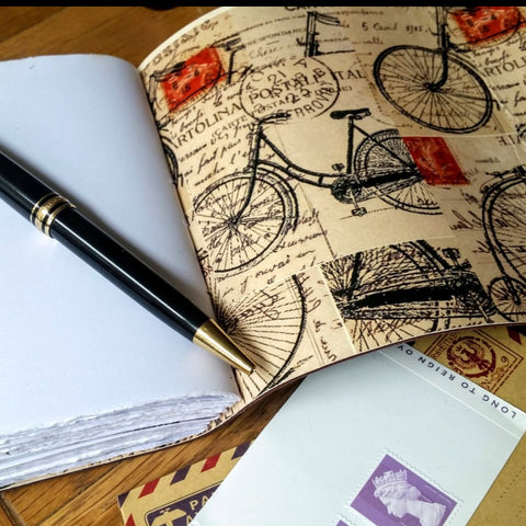 Leather journal with a cycling theme, leather cycling/biking notebook