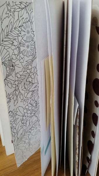 Variety of paper pages in a junk journal by Bespoke Bindery