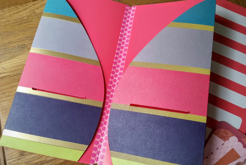 Rainbow multi stripe with gold bands and pink interior TN dashboard folder insert