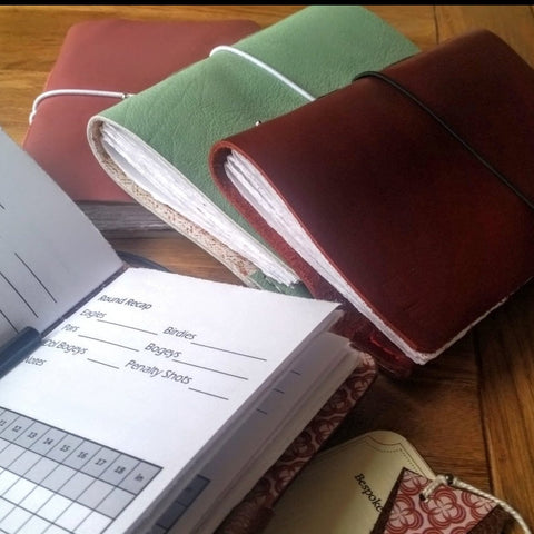 Ladies leather golf journals in a choice of colours