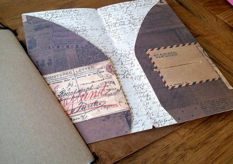 Vintage Envelope and airmail envelope printed on Traveler's Notebook Card dashboard insert