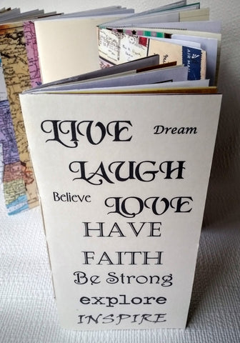 live, Laugh, Love Gratitude Junk Journal with inspirational quotes