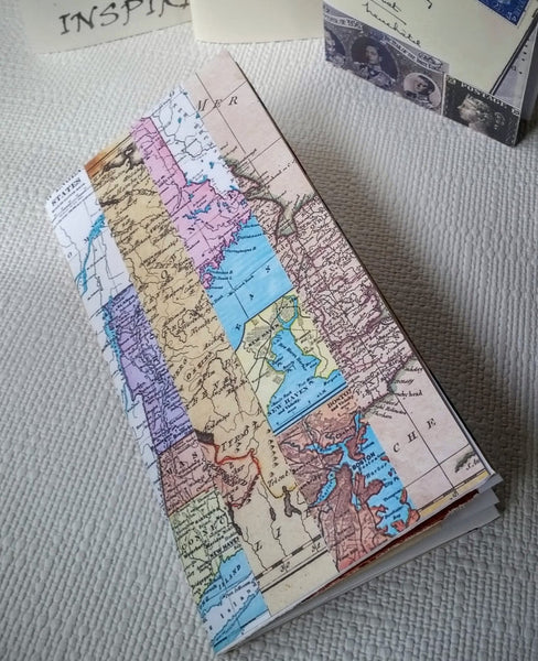 Travel Junk Journal with Map Stripe collage cover