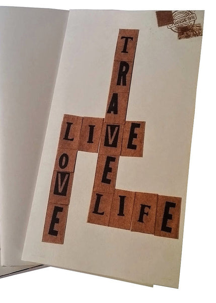 Travel Live Love Life crossword style cover on Junk Journal by Bespoke Bindery