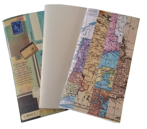 3 Junk Journals designed by Bespoke bindery - map stripe collage, plain and Vintage British Passport