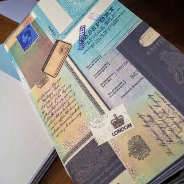 Front view of British Passport design Junk Journal insert for traveler's notebooks