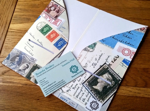 vintage postal themed Midori Traveler Notebook TN dashboard folder insert inside view by Bespoke Bindery
