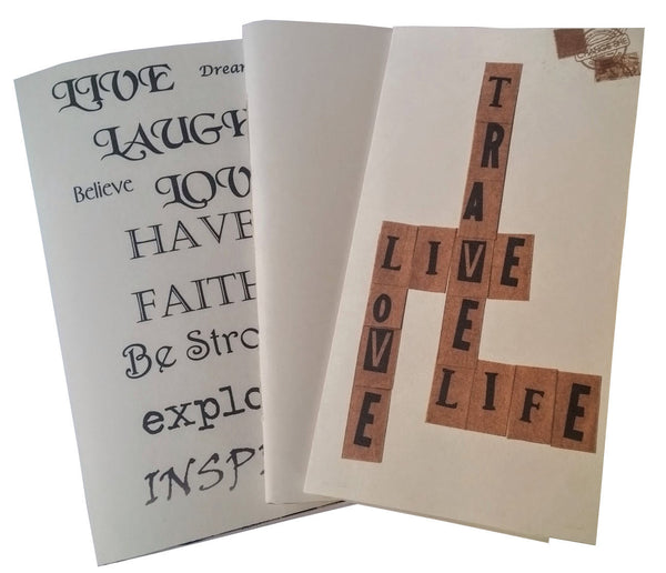 Multi pack junk journals from Bespoke Bindery with Inspirational text covers.  live, laugh, love, travel Love Life