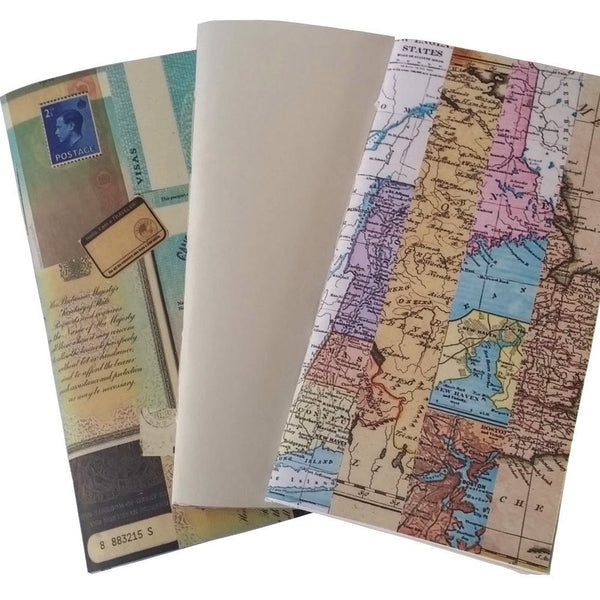 Co-ordinating designs to British Passport JJ including plain and abstract world map stripe