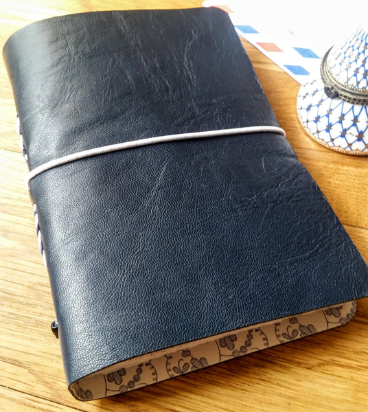Dark Blue leather moleskine style journal with white elastic closure