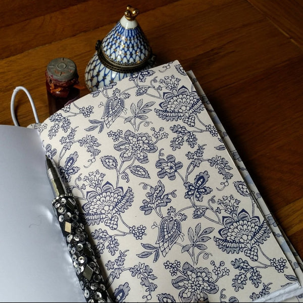 Floral french Parisienne blue page inside leather journal