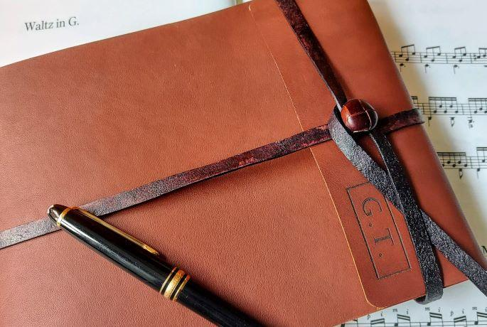 custom and personalised leather music journals