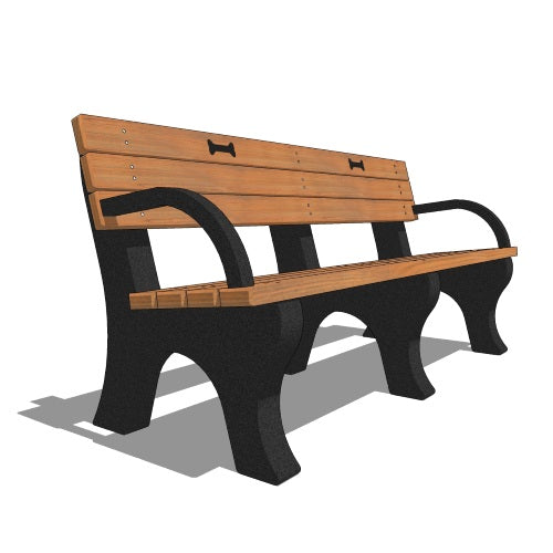 Backed Poly Bench With Arms And Dog Bone Motif