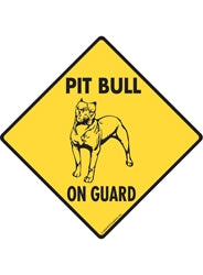 Pit Bull On Guard Caution Yellow Sign