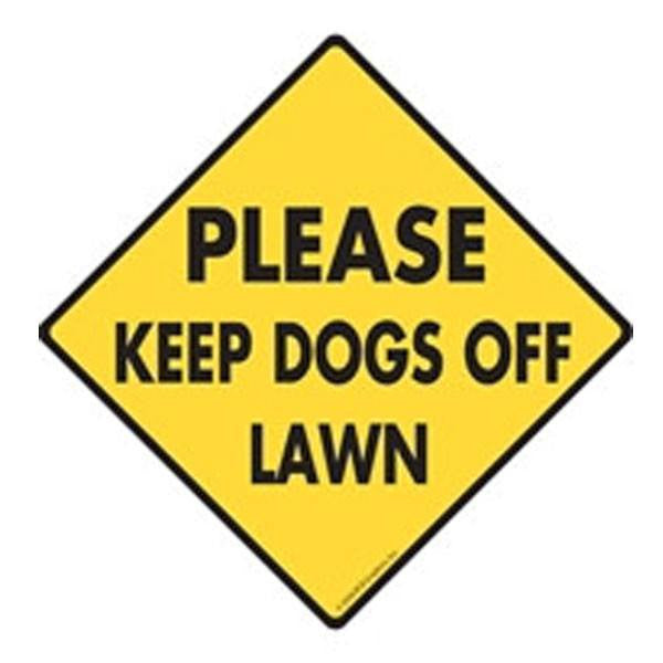 Please Keep Dogs Off Lawn In Caution Yellow
