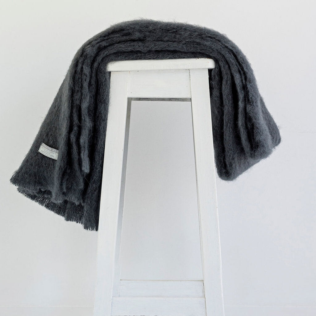 Pure Mohair Throw  |  Charcoal