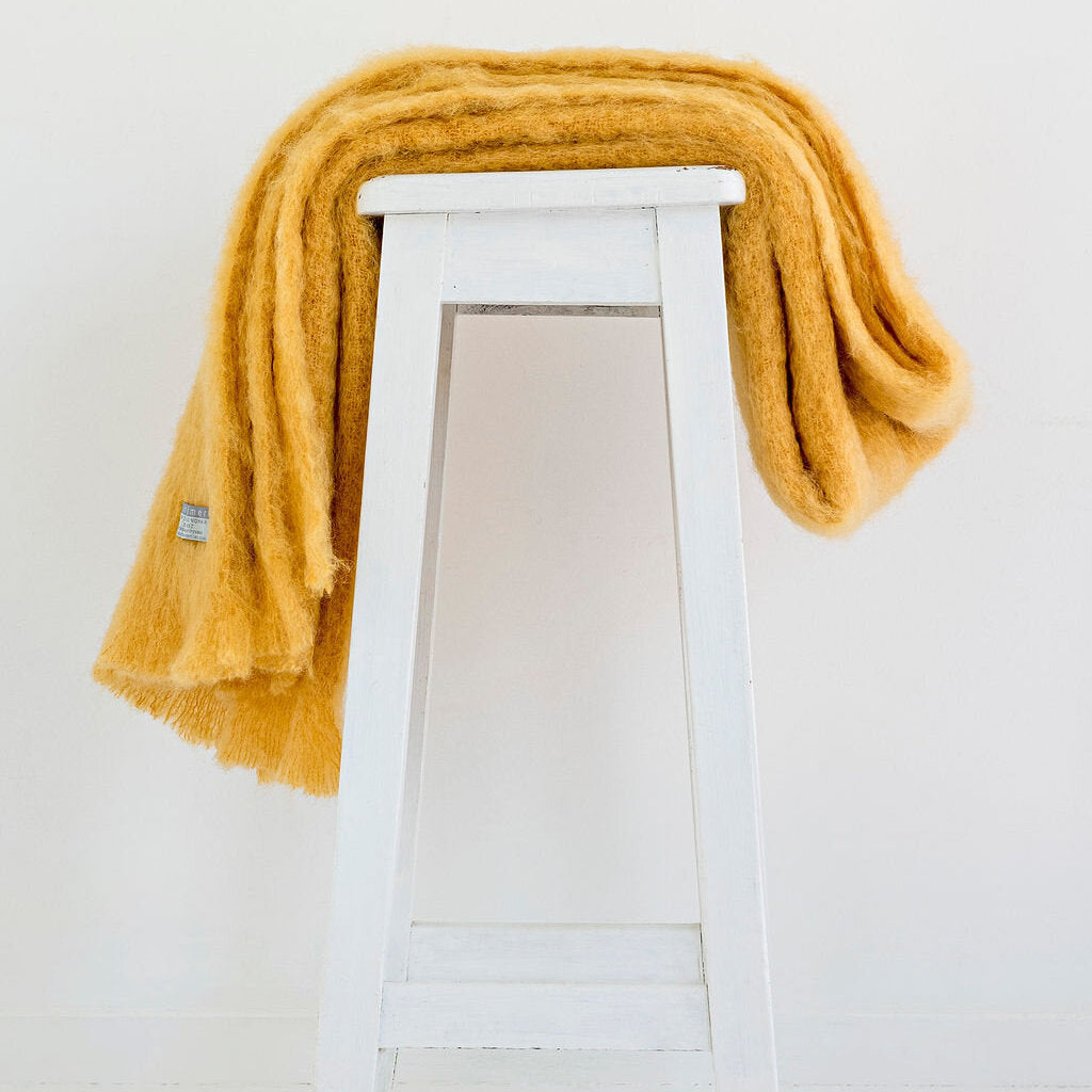 Pure Mohair Throw - Ochre