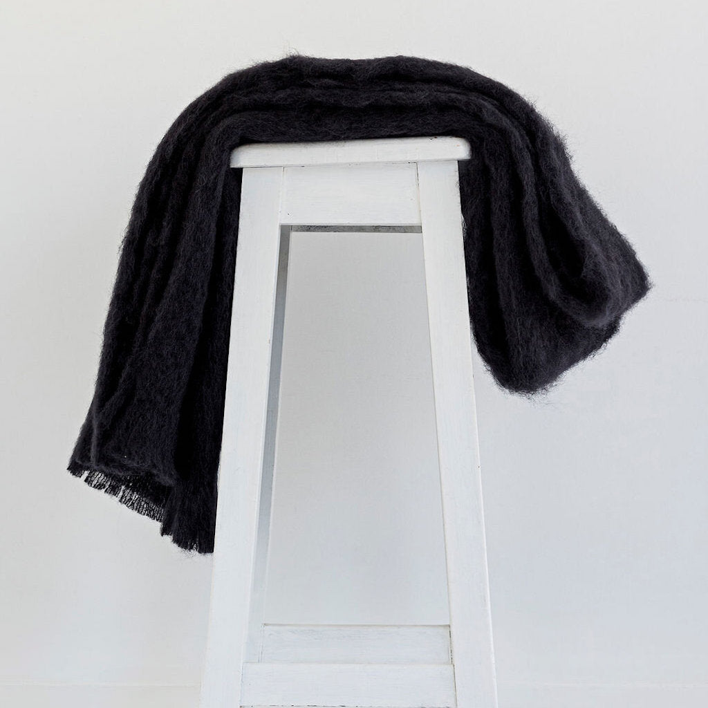 Pure Mohair Throw  |  Raven