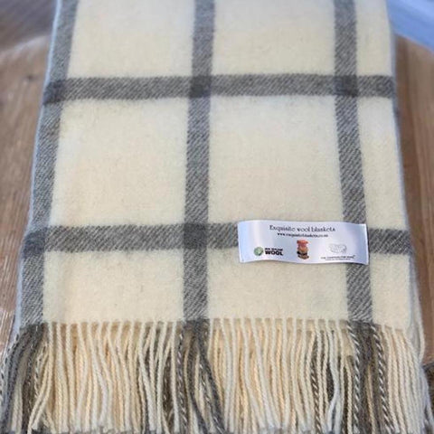 NZ Wool Throw  |  Windowpane  |  Cream