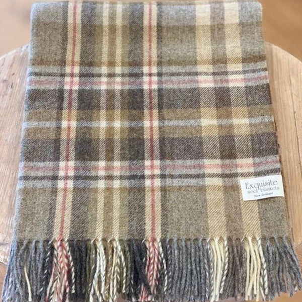 NZ Wool Throw - Glen Coe - Mustard