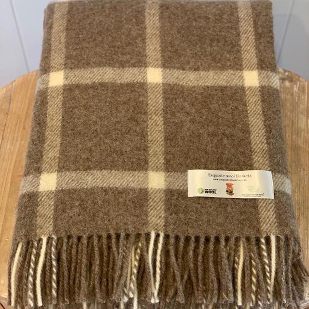 NZ Wool Throw Windowpane  |  Beige