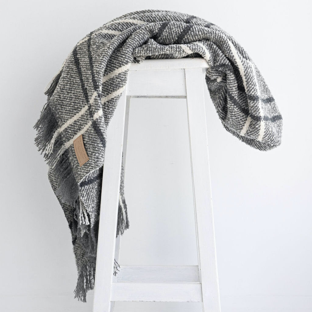 Wool Twill Throw  |  Grey Windowpane