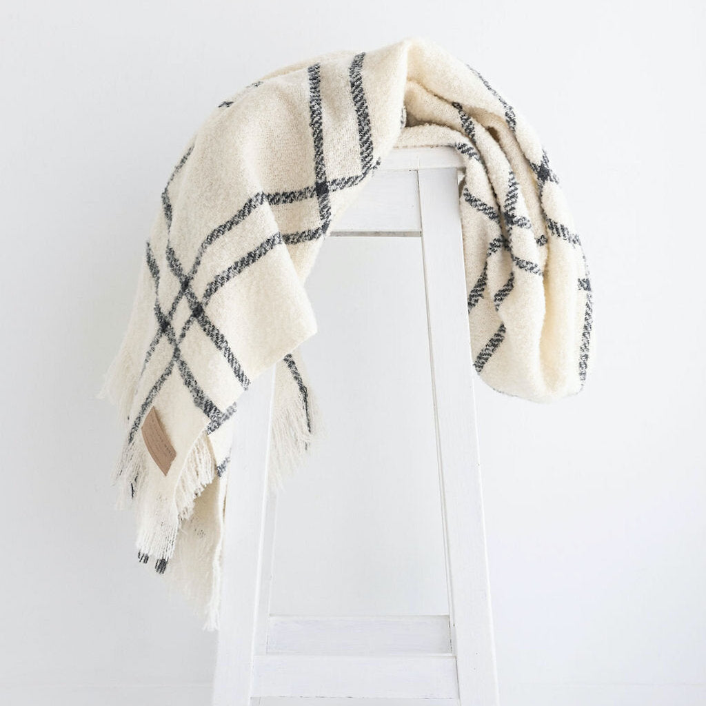 Wool Twill Throw  |  Cream Windowpane
