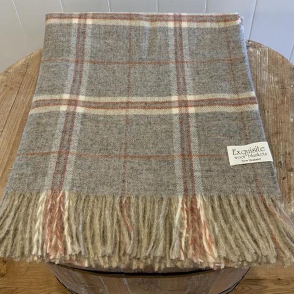 NZ Wool Throw - Windowpane - Sandstone