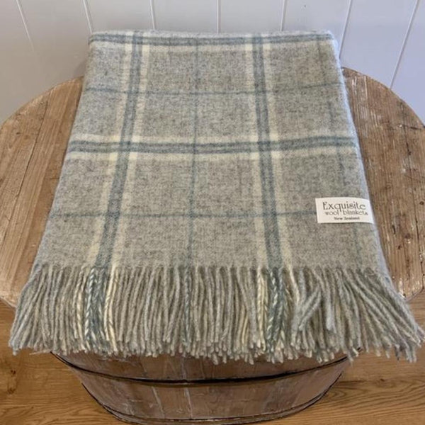 NZ Wool Throw - Windowpane - Slate