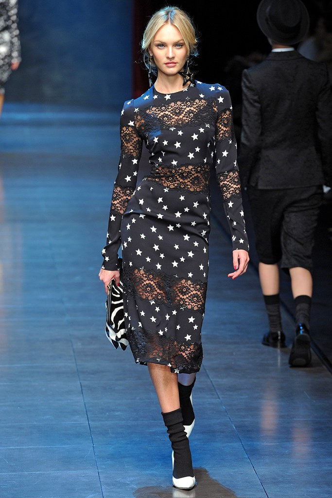 DOLCE & GABBANA Black Star Print Lace Inset Sheath Dress 40 US 4