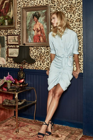 VERONICA BEARD Sierra Blue Silk Shirt Dress