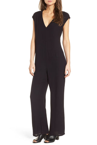 JAMES PERSE Black Crepe V-Neck Straight Leg Jumpsuit Romper Size 2