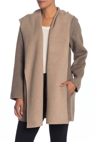 VINCE Hooded Open Front Draped Coat Felted Double Face Wool Blend M BRAND NEW