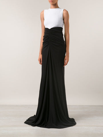 RICK OWENS LILIES Black Jersey Knit Fishtail Maxi Skirt 40 US 4