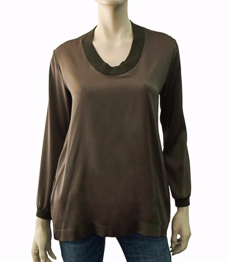 ff88a078fee3e3 KRISTEN du NORD Long Sleeve Brown Silk Ribbed Trim Top Blouse S ...