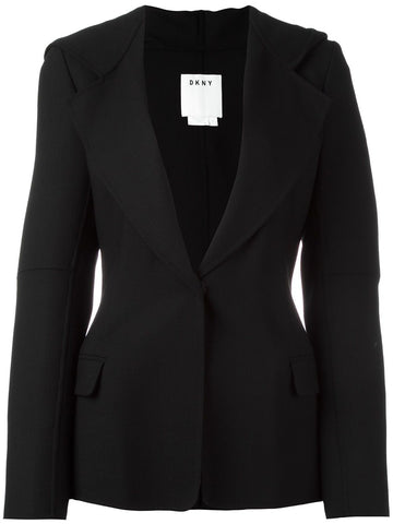 DKNY Black Stretch Wool Hooded Blazer Jacket 4 NEW WITH TAGS