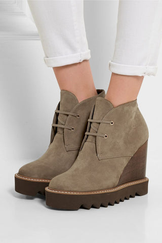STELLA McCARTNEY 37 Faux Suede Wedge Leana Ankle Boots 6.5 NEW