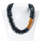 "MARCIN ZAREMSKI Oxidized Sterling Silver and 21kt YG Oscillate Necklace 19"" BRAN"