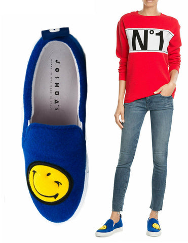 JOSHUA SANDERS Blue Smiley Felt Slip On Sneakers 41 US 10.5 NEW IN BOX